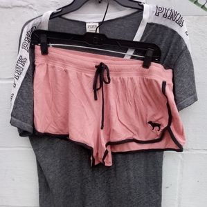 Pink-Vs Set Tee and Short S/L